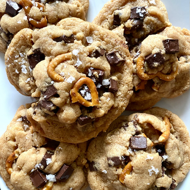 Perfectly Chewy Salted Chocolate Chip Pretzel Cookies