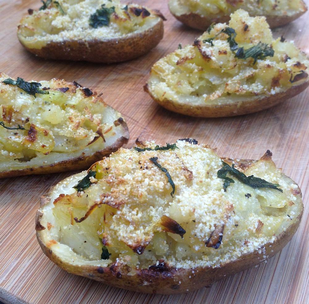 Leek Stuffed Twice Baked Potato