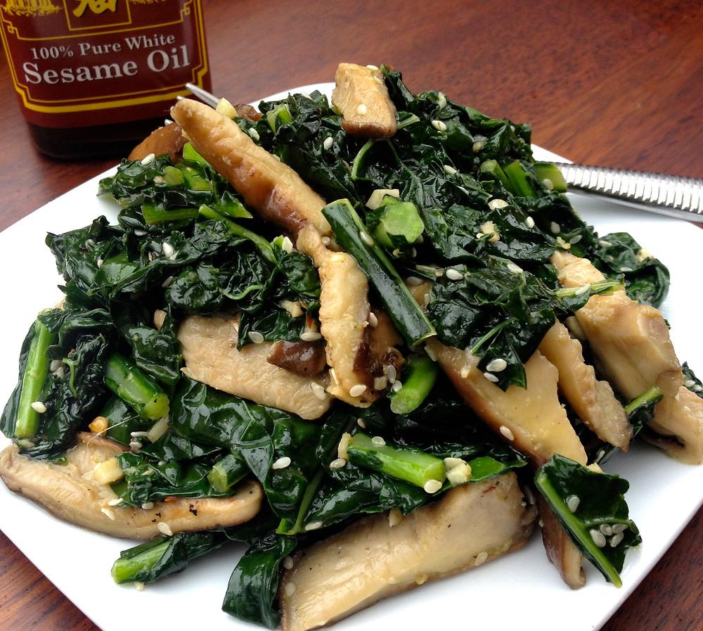 Sesame Garlic Kale & Shiitake Mushrooms