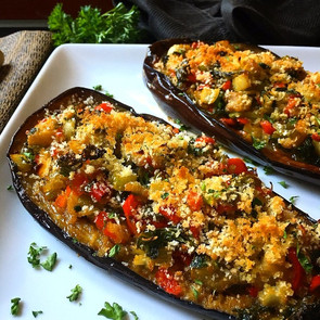 Twice Baked Stuffed Eggplant