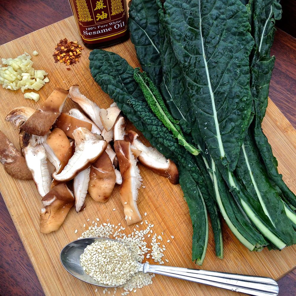 Sesame Garlic Kale and Shiitake Mushrooms! Super Quick and Easy