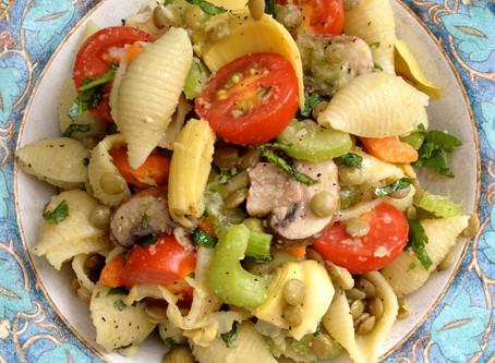 Artichoke Lentil Pasta Salad