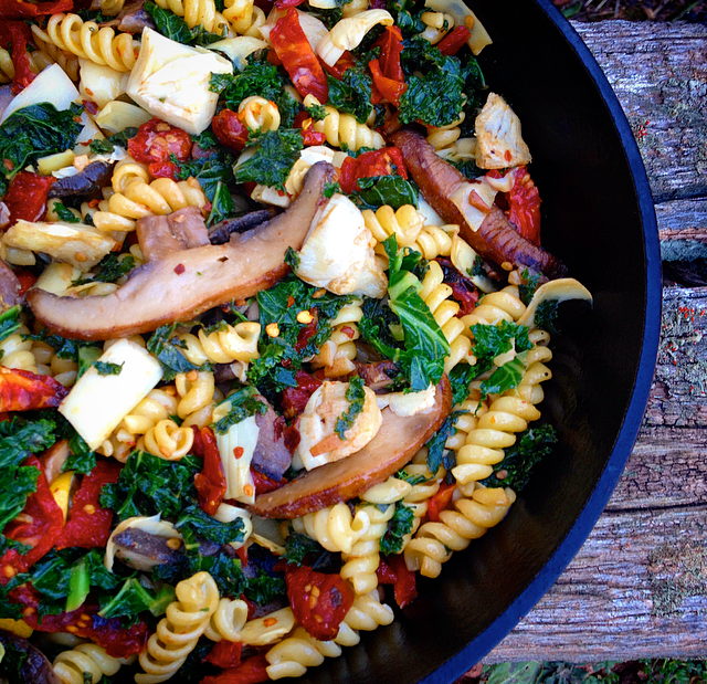 Veggie Pasta with Sun Dried Tomatoes, Mushrooms, Kale & Artichokes