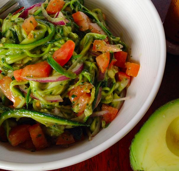 zucchini salad with creamy avocado pesto