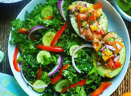Kale Salad & Stuffed Avocados