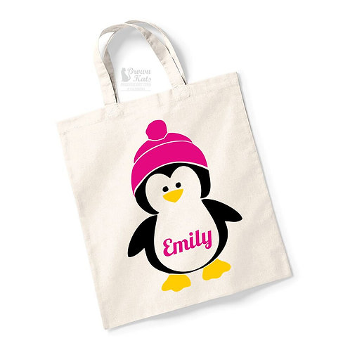 Personalised penguin Christmas Eve bag