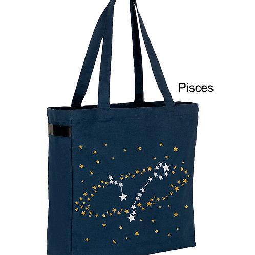 Pisces - Zodiac denim canvas shopper bag