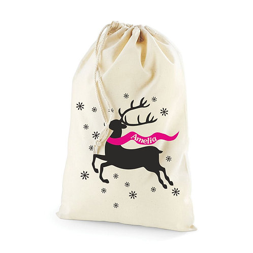 Reindeer and snowflakes - Personalised Christmas sack