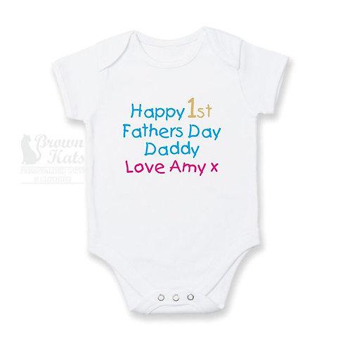 1st Fathers Day babys bodysuit