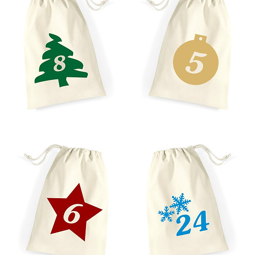 Christmas advent calendar bags