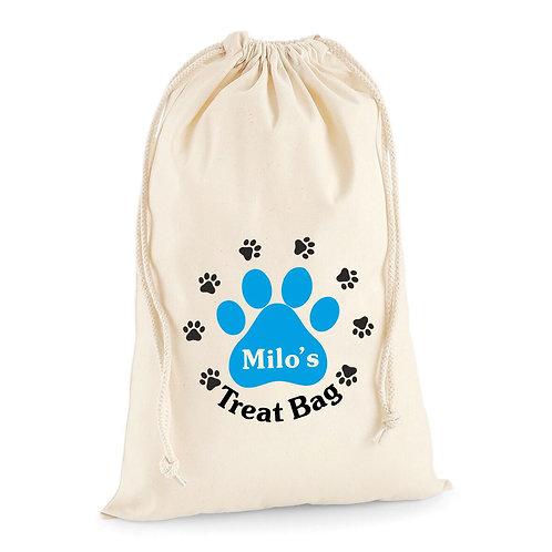Personalised dog treat drawstring bag