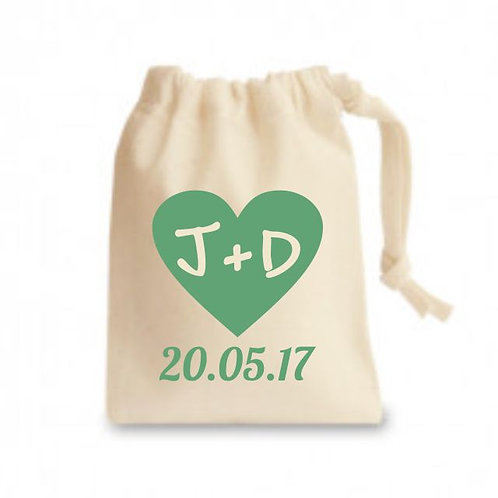 Coloured cotton printed favour bags