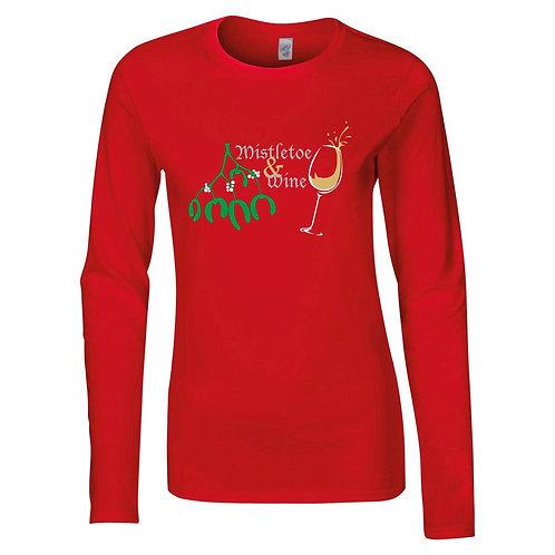 Womens Mistletoe & Wine Christmas t-shirt