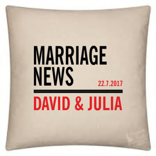 Marriage News personalised cushion