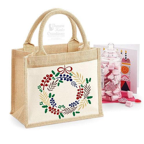 Printed jute gift bag