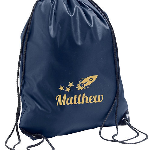 Childrens personalised PE bag - Space rocket