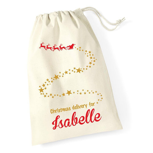 Santa sleigh and stars - Personalised Christmas sack