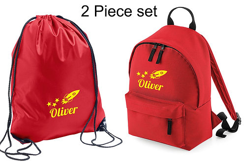 Personalised backpack and gymsac with space rocket and childs name
