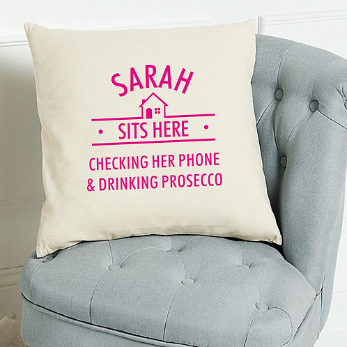 Personalised 'Sits here' cushion