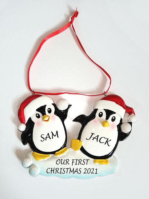 Penguin Christmas personalised decoration