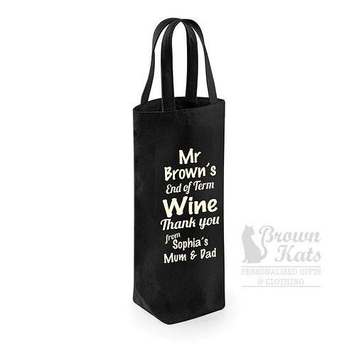 End of term personalised wine bag
