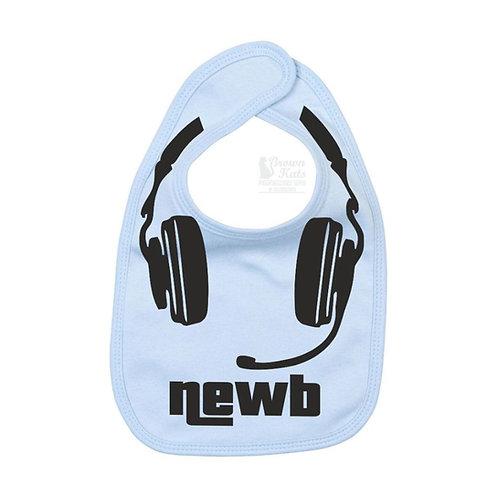 Baby gamer 'newb' printed bib