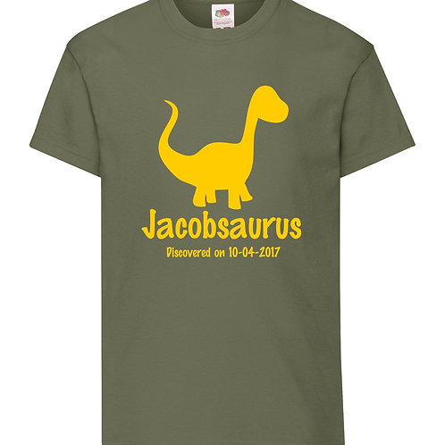 Personalised dinosaur childrens t-shirt