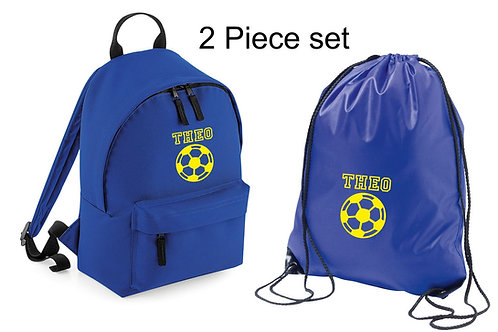 Personalised backpack and gymsac with football and childs name