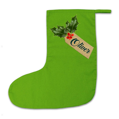 Christmas stocking with personalised holly tag