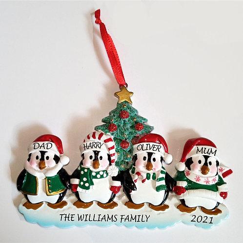 Personalised Christmas decoration - penguins