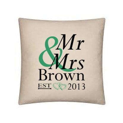 'Mr and Mrs' cushion