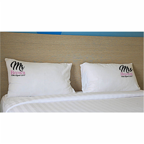 Mr and Mrs personalised pillowcases
