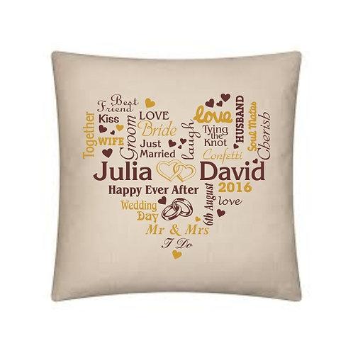 Wedding typography heart cushion