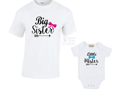 Big sister, Little mister t-shirt pack
