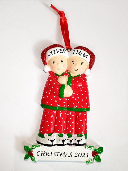 Christmas pyjamas personalised decoration