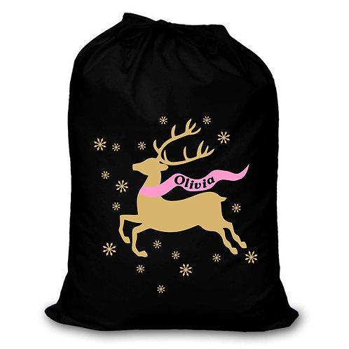 Reindeer and snowflakes - Christmas sack