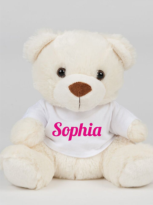 Cream teddy bear with personalised t-shirt