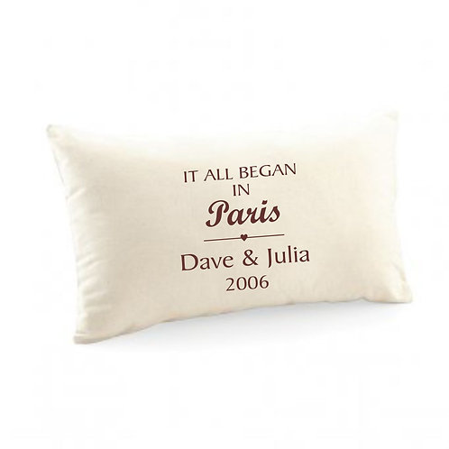 It all began... personalised canvas cushion