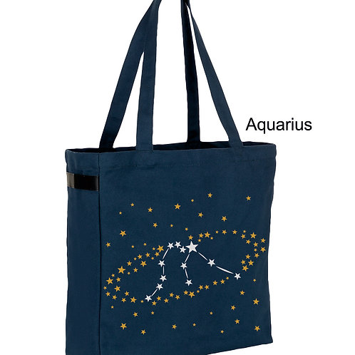 Aquarius- Zodiac denim canvas shopper bag