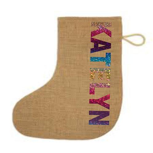 Personalised jute Christmas stocking