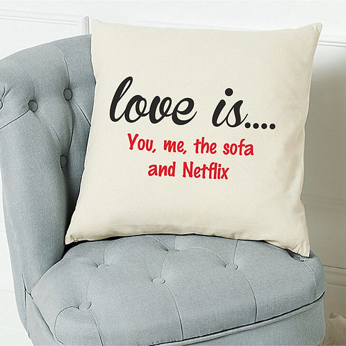 'Love is....' personalised cushion