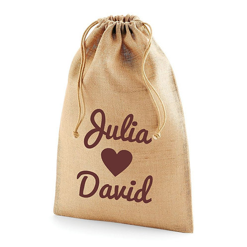 Printed hessian wedding favour bag