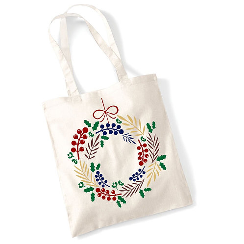 Festive wreath cotton tote bag