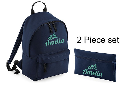 Personalised backpack and pencil case with flowers and childs na