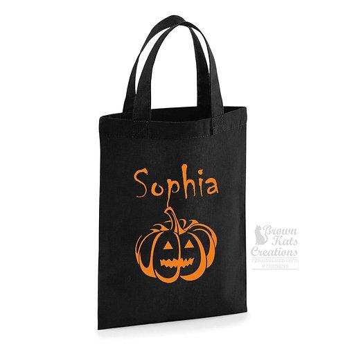 Pumpkin trick or treat personalised bag