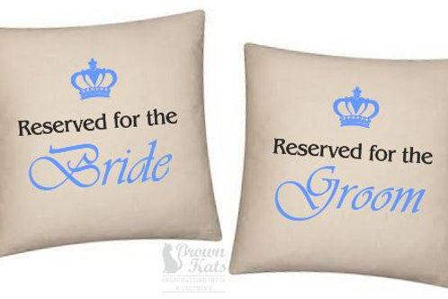 'Reserved for the 'Bride & Groom' cushion set