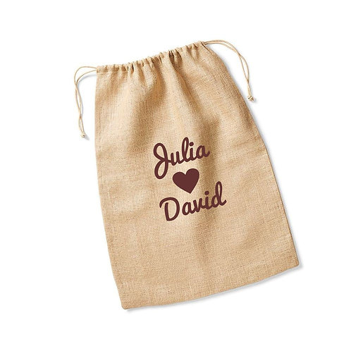 Personalised hessian jute wedding post bag