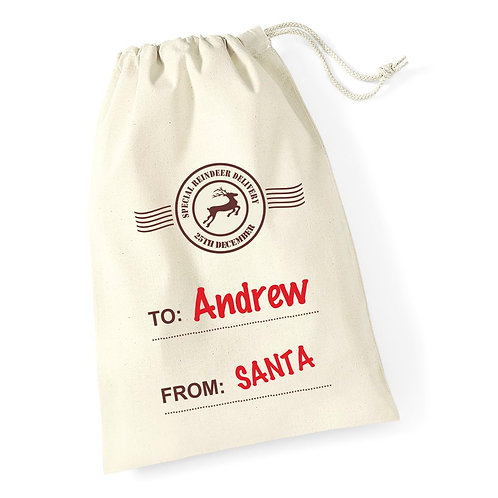 Special reindeer delivery - Personalised Christmas sack