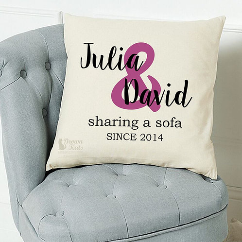 'Sharing a sofa since...' cushion