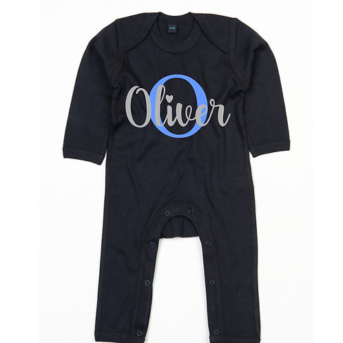 Initial & name baby romper suit